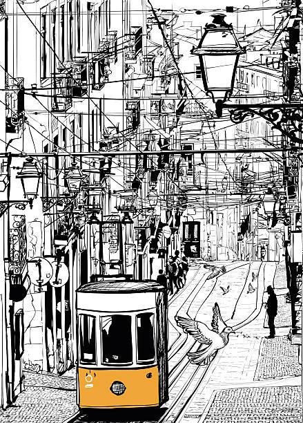 ilustrações de stock, clip art, desenhos animados e ícones de típica linha do elétrico em lisboa perto chiado square - eletrico lisboa