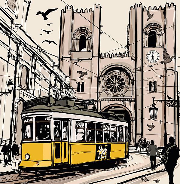 ilustrações de stock, clip art, desenhos animados e ícones de típica linha do elétrico em lisboa perto catedral de se - eletrico lisboa