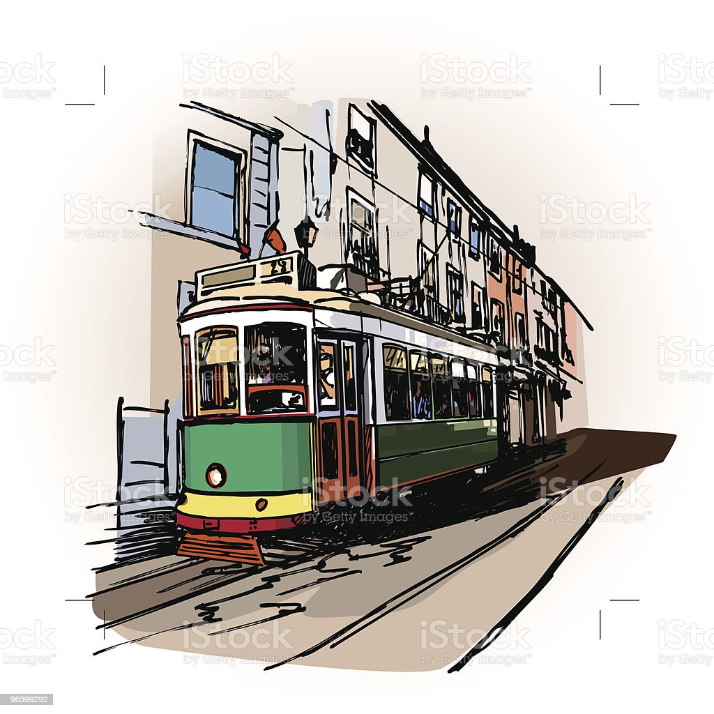 typical tramway  in Lisbon - Royalty-free Antique stock vector