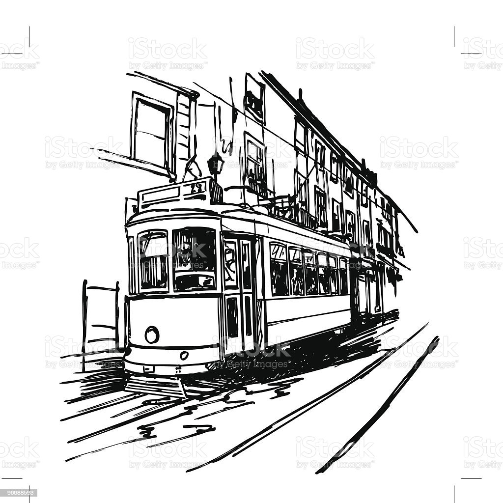 typical tramway  in Lisbon royalty-free typical tramway in lisbon stock vector art & more images of antique