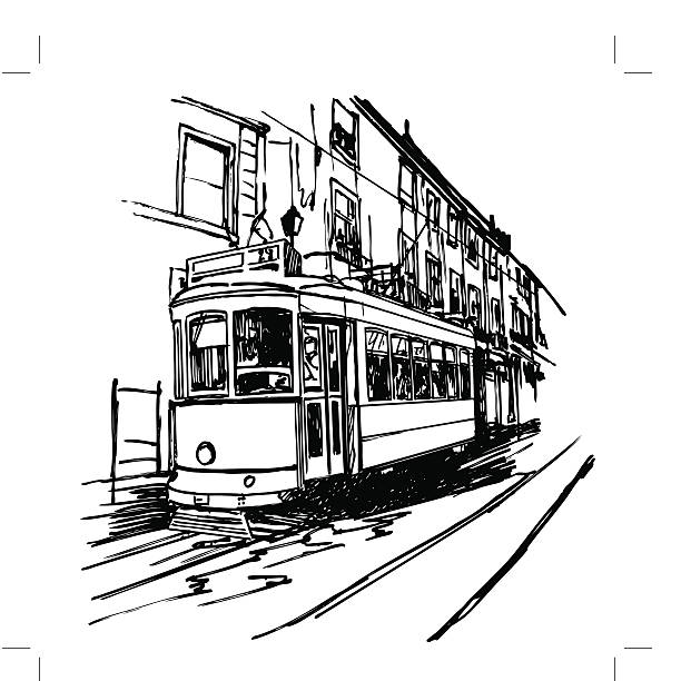 ilustrações de stock, clip art, desenhos animados e ícones de típica linha do elétrico em lisboa - eletrico lisboa