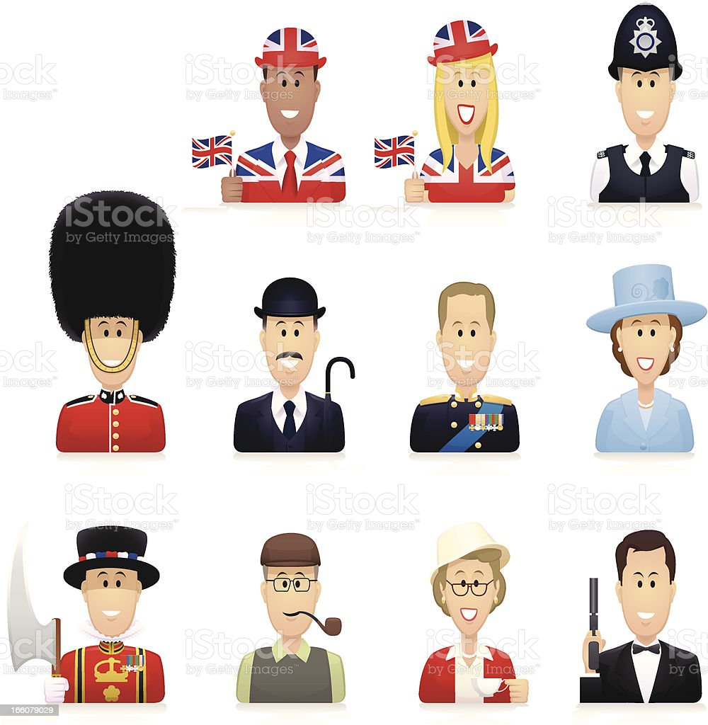 Typically British People vector art illustration
