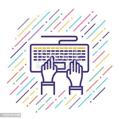 Line vector illustration of keyboard typing.