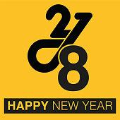 HAPPY NEW YEAR, typographic arrangement 2