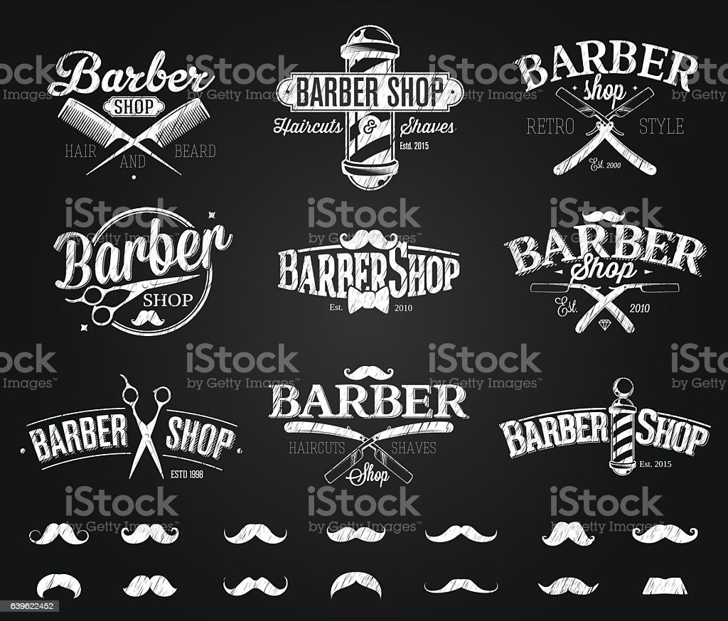 Typographic Barber Shop Emblems chalk drawing - Illustration vectorielle