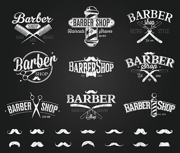 Typographic Barber Shop Emblems chalk drawing vector art illustration