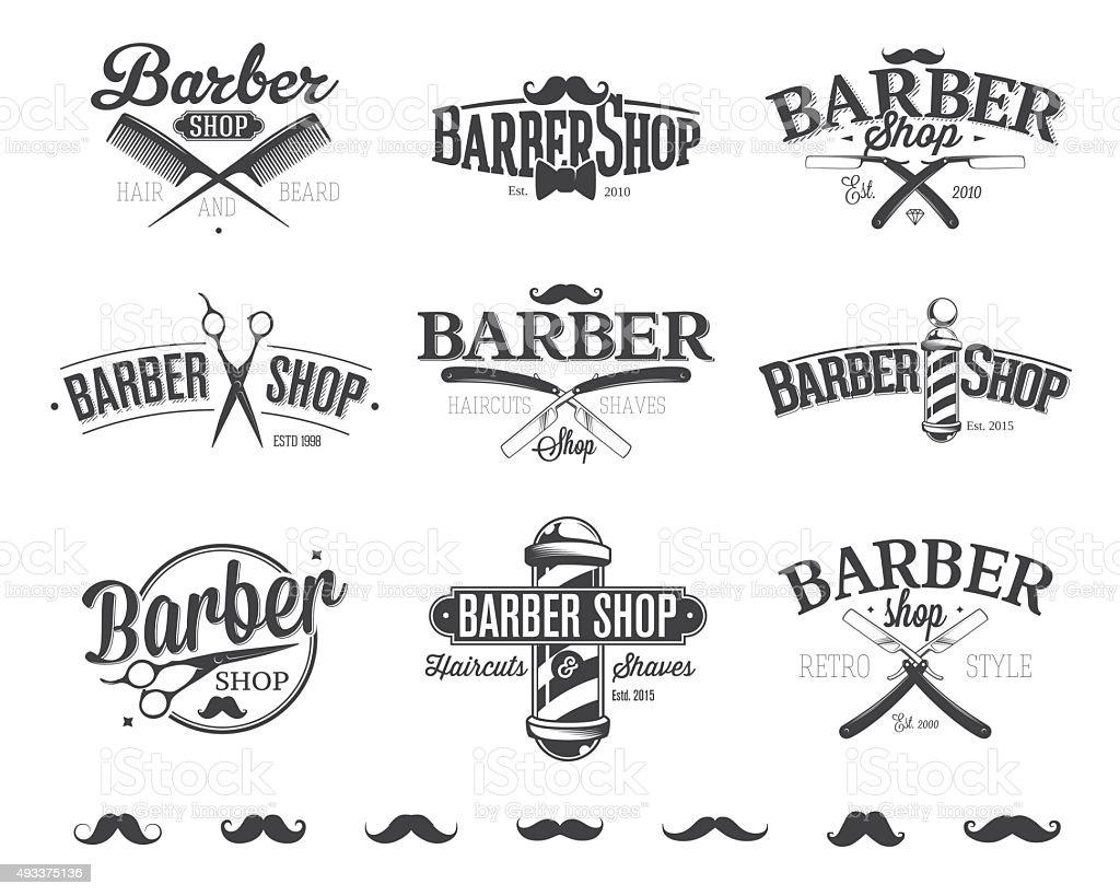 Typographic Barber Shop Emblems vector art illustration