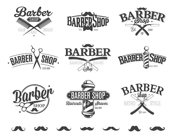 Typographic Barber Shop Emblems vector art illustration