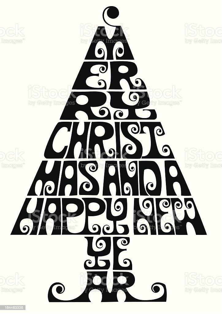 Typographic christmas tree royalty-free stock vector art