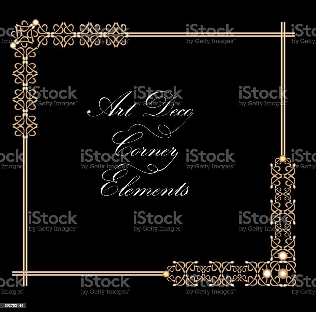 Typographic Document Corner In Gold Art Deco Design Luxurious Decorative  Elements For Print Restaurant Menus Leaflets Invitation Announcement Stock  ...