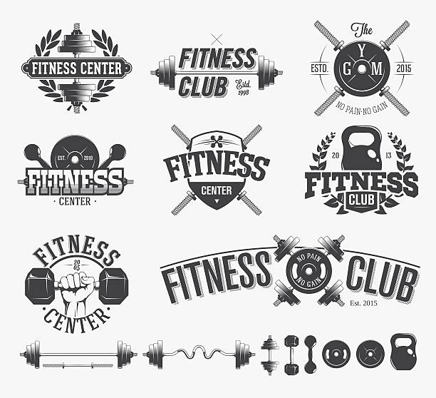Typographic Fitness Emblems vector art illustration