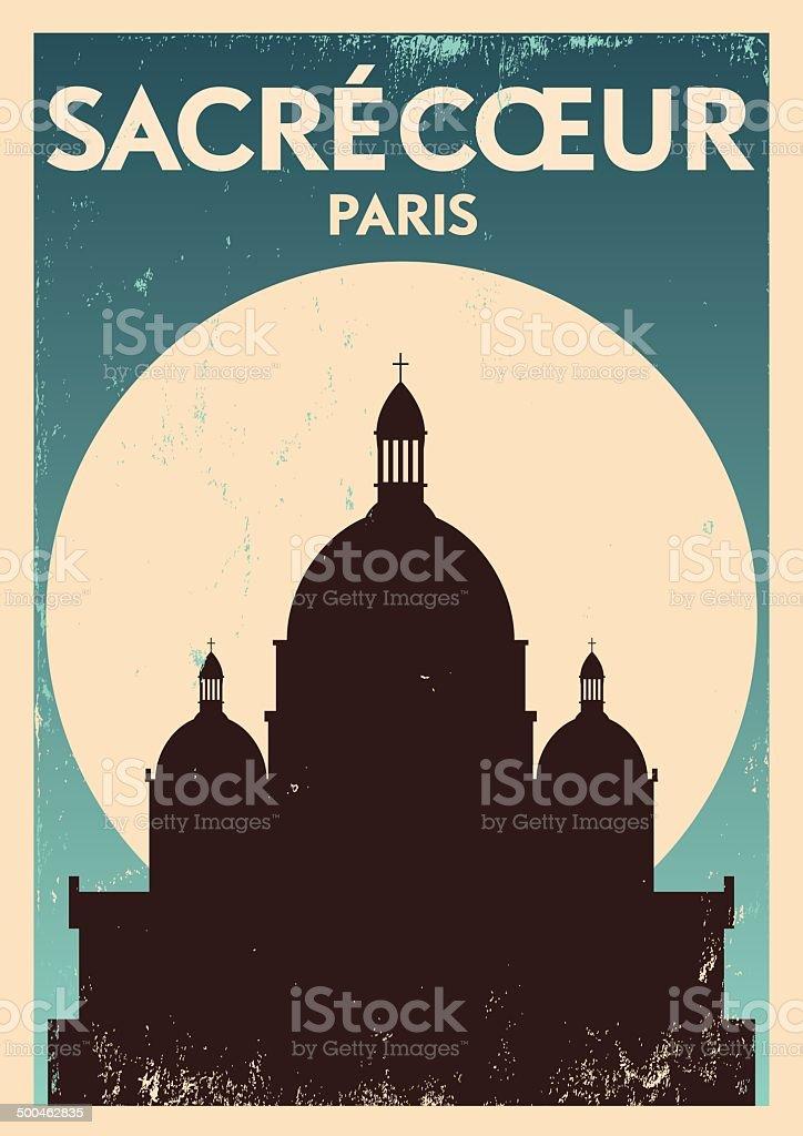 Typographic Paris City Poster Design vector art illustration