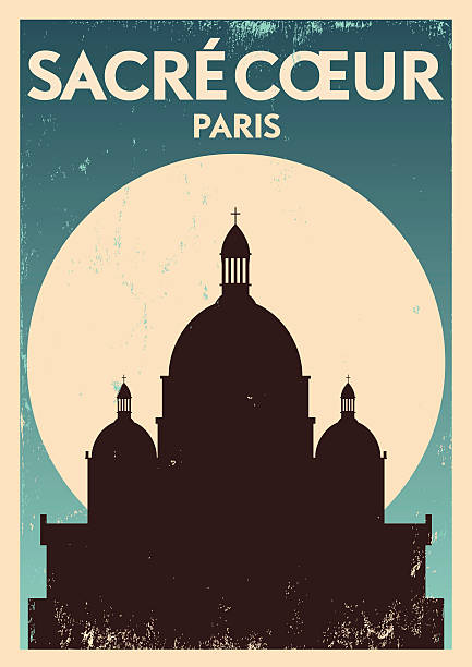 Typographic Paris City Poster Design EPS 10. Easily editable Famous Travel Location Poster Series french culture stock illustrations