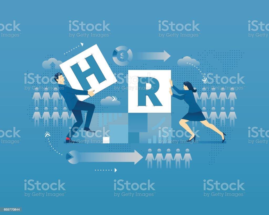 HR typographic poster vector art illustration