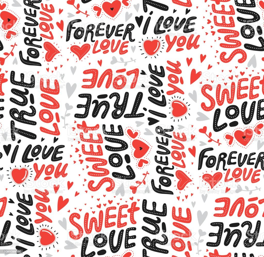 typographic style seamless pattern hand lettered love quotes