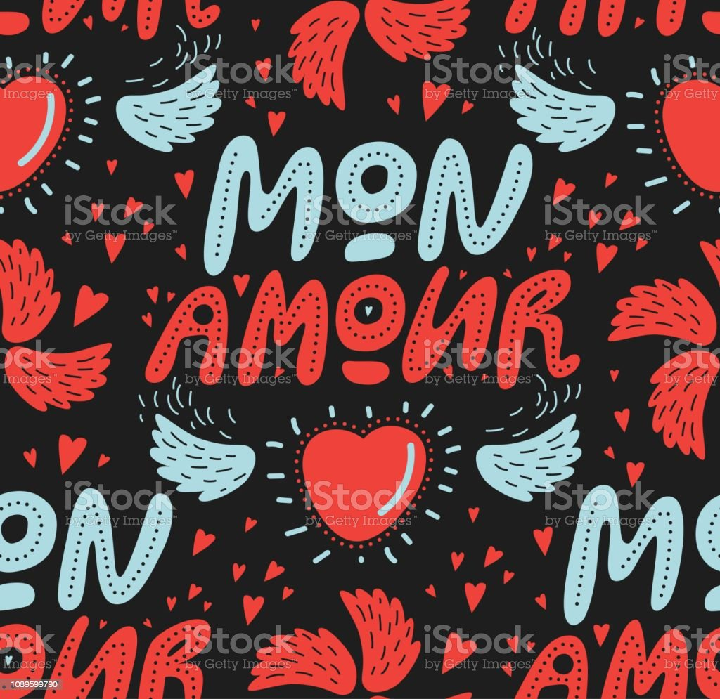 Typographic style seamless pattern with hand lettered text My love in...