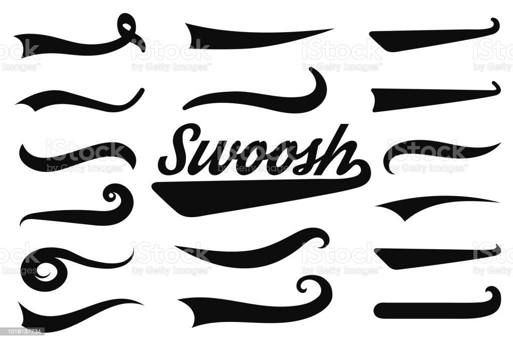 Swash tipográfico y swooshes colas. Sirenas y caracteres decorativos para atlético tipografía, logos, fuente de béisbol del retro - ilustración de arte vectorial