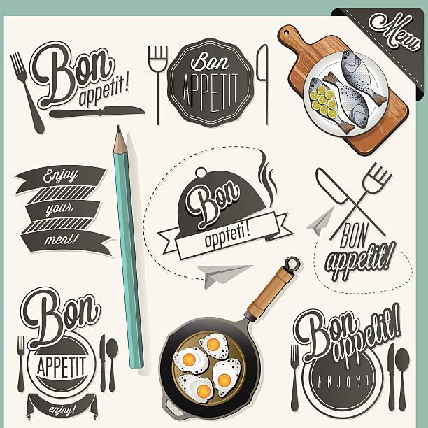 bildbanksillustrationer, clip art samt tecknat material och ikoner med typographic symbols for restaurant menu design. - frying pan