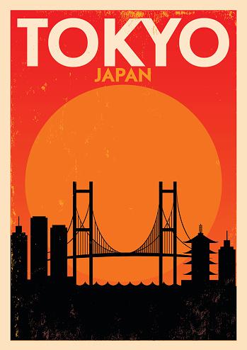 Typographic Tokyo City Poster Design