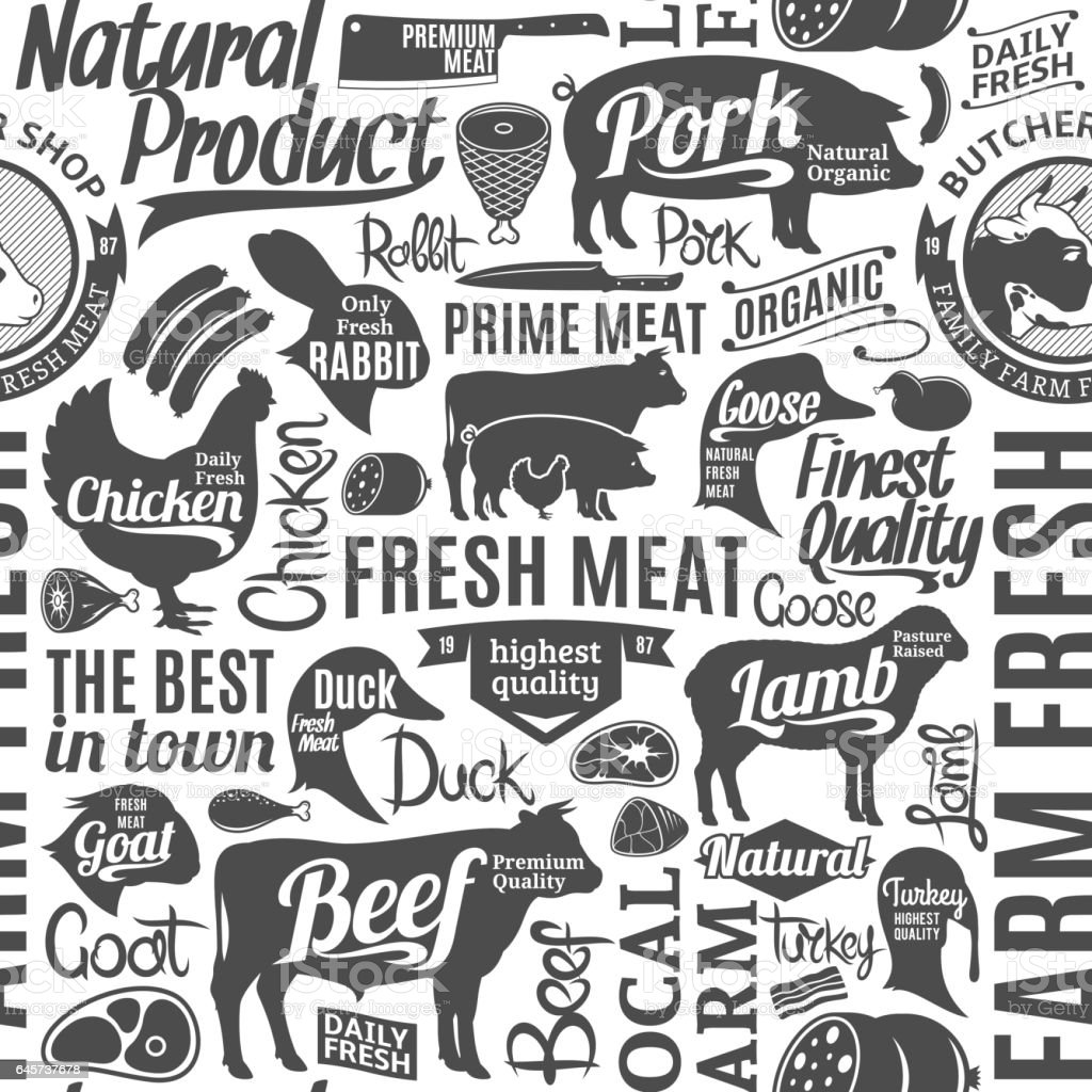 Typographic vector butchery seamless pattern or background vector art illustration