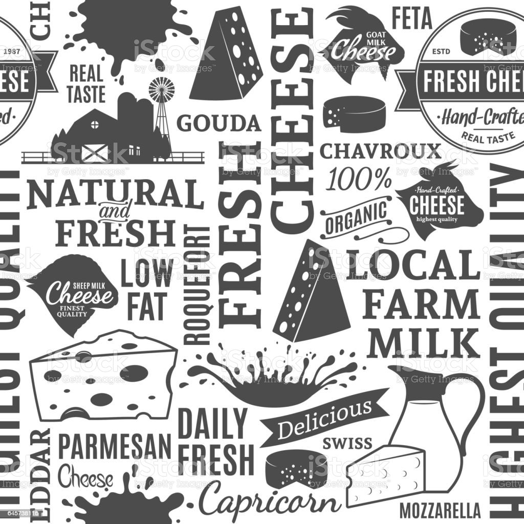 Typographic vector cheese seamless pattern or background vector art illustration