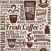 Typographic vector coffee shop seamless pattern or background. Mugs, beans and coffee equipment icons for coffeehouse, espresso bar, restaurant, cafe, packaging, branding and identity