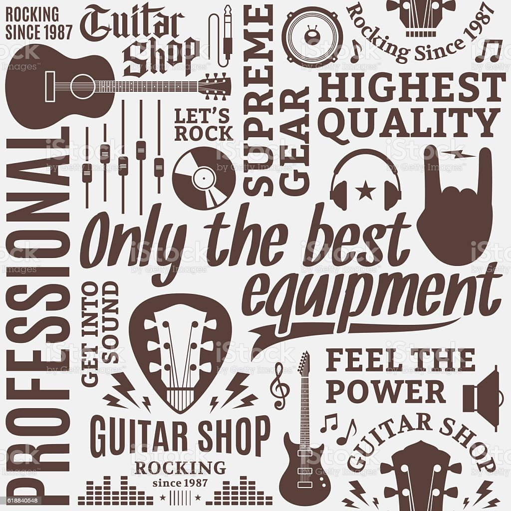 Typographic vector guitar shop seamless pattern vector art illustration