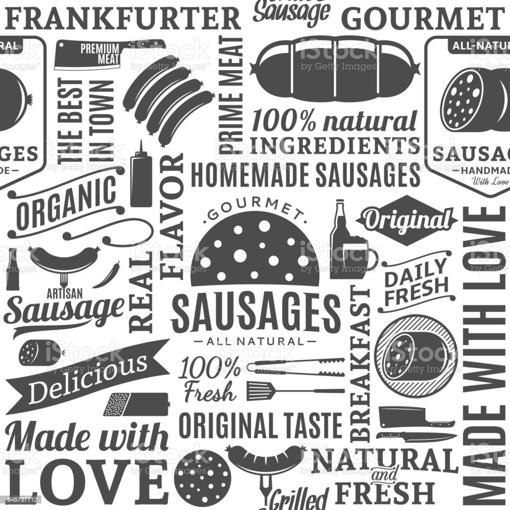 Vector typographique saucisses transparente motif ou fond - Illustration vectorielle