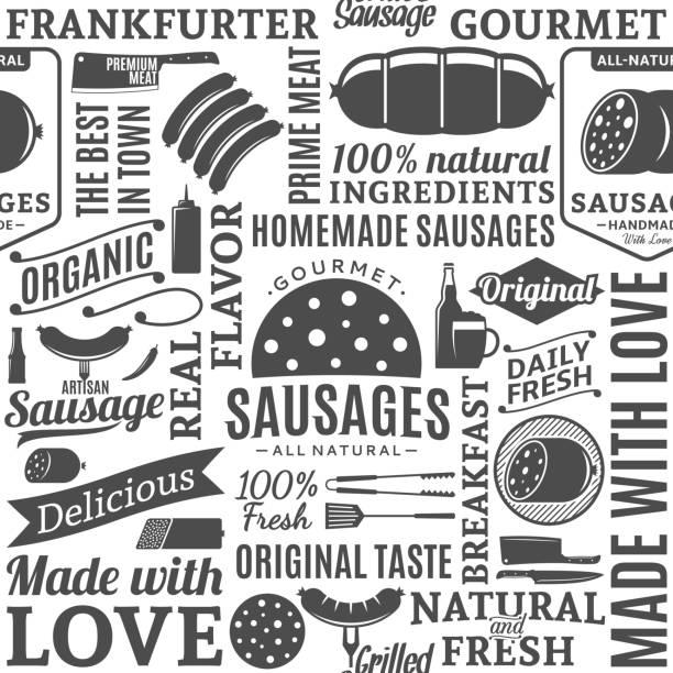ilustrações, clipart, desenhos animados e ícones de vector tipográficas salsichas sem costura padrão ou plano de fundo - delicatessen