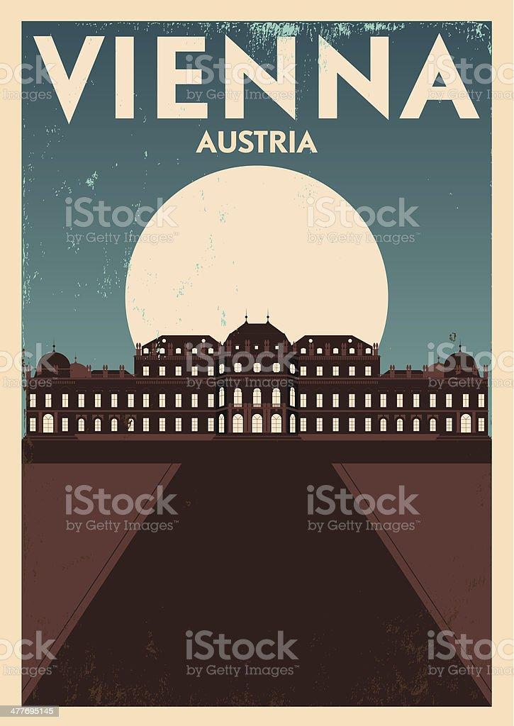 Typographic Vienna City Poster Design vector art illustration