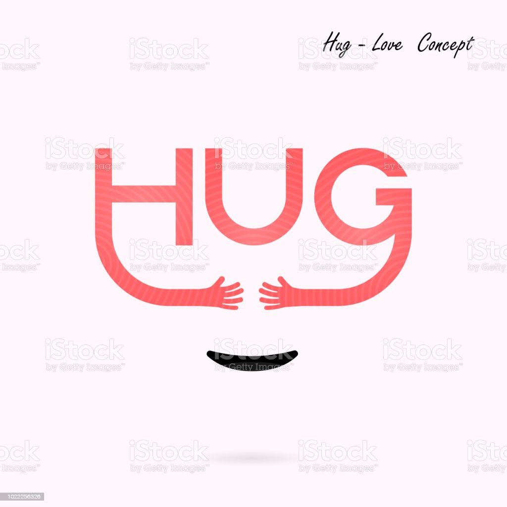 Hug Typographical And Hand Iconembrace Or Hug Icons Vector Logo