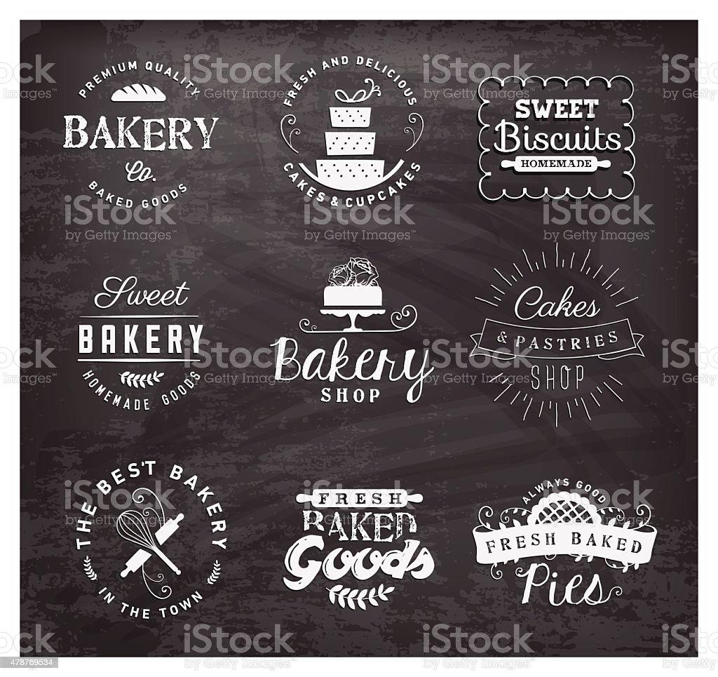 Typographical Bakery Labels, Badges and Design Elements on Chalkboard vector art illustration