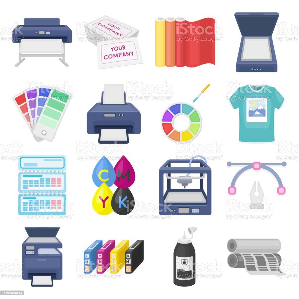 인쇄 제품 디자인에 대 한 설정 컬렉션 아이콘 만화. 인쇄 및 장비 기호 재고 웹 일러스트 벡터. - 로열티 프리 0명 벡터 아트