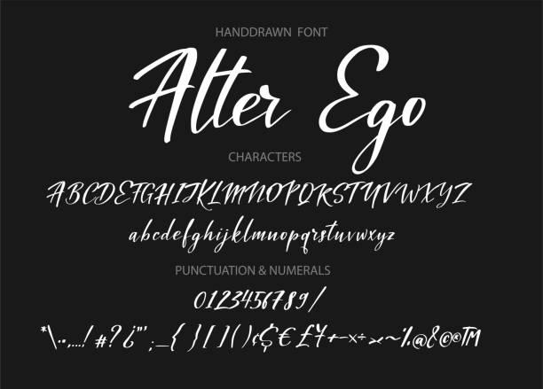 版式字母表為您的設計符號, 字體, 網頁橫幅, 卡片, 婚禮請柬 - 書法 幅插畫檔、美工圖案、卡通及圖標