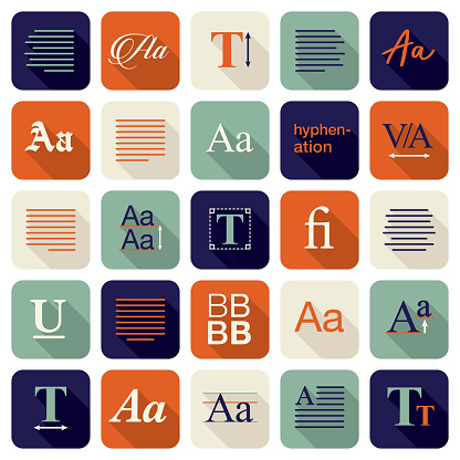 Typography and Typesetting Icon Set