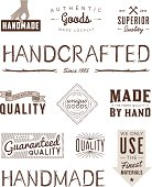 A set of vintage-style banners and badges focusing on handcrafted and handmade labels. Includes hand-drawn wood type. Each items is on a separate layer. Includes a layered Photoshop document. Ideal for both print and web elements.