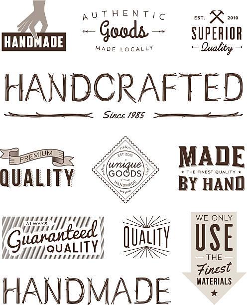 typografie badges brown - hausgemacht stock-grafiken, -clipart, -cartoons und -symbole