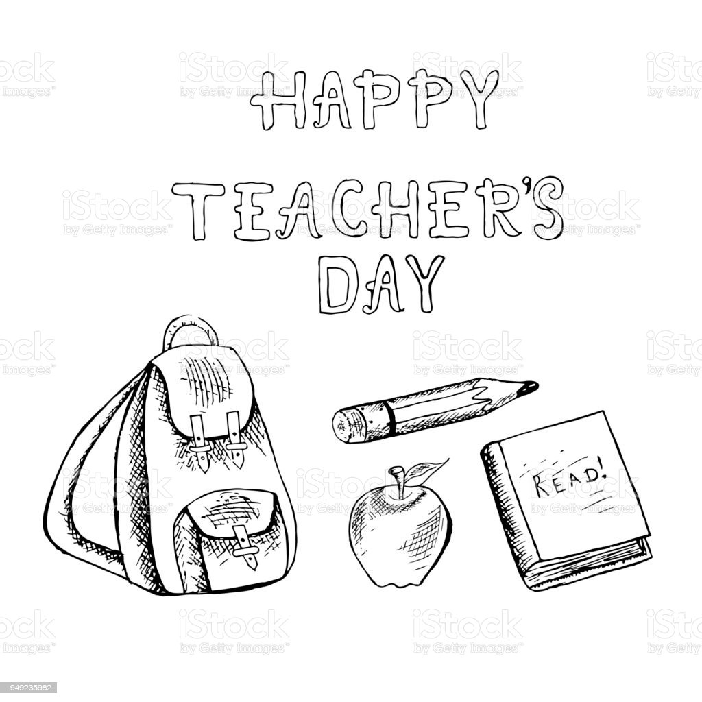 Typography banner lettering Happy teachers day. Monochrome backpack,...