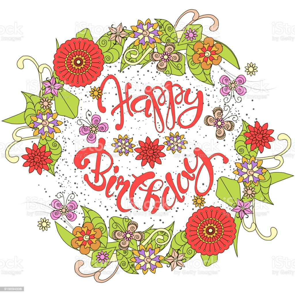 Typography banner red lettering happy birthday in colorful hand typography banner red lettering happy birthday in colorful hand drawn flower wreath royalty free typography izmirmasajfo Image collections