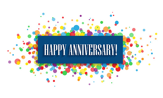 HAPPY ANNIVERSARY! typography banner with colorful confetti