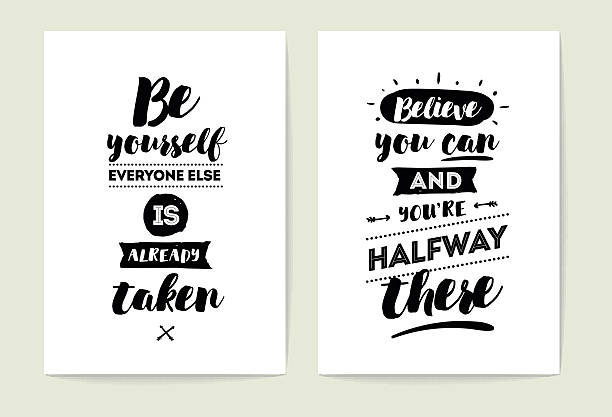 typography cards set. - cytat tekst stock illustrations