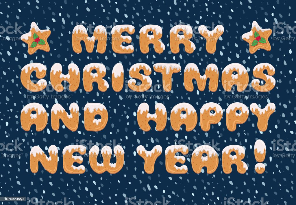 Typography christmas greeting card in cartoon style with text form of...