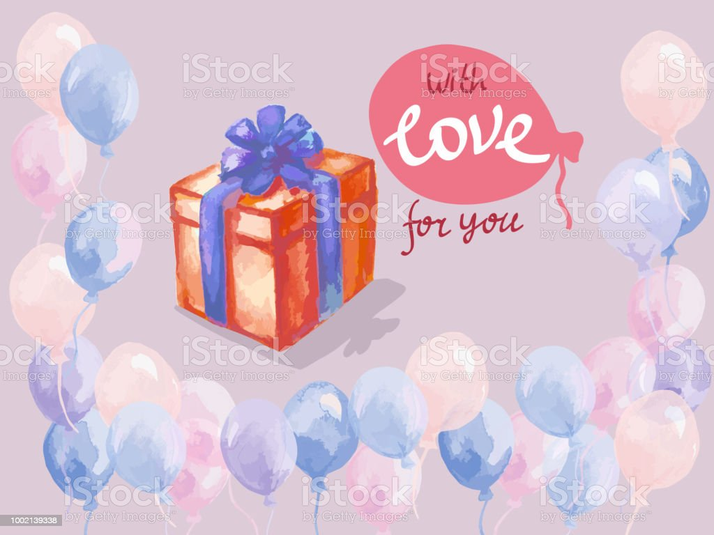 Typography Design For Greeting Cards And Poster With Balloon Gift Box Template