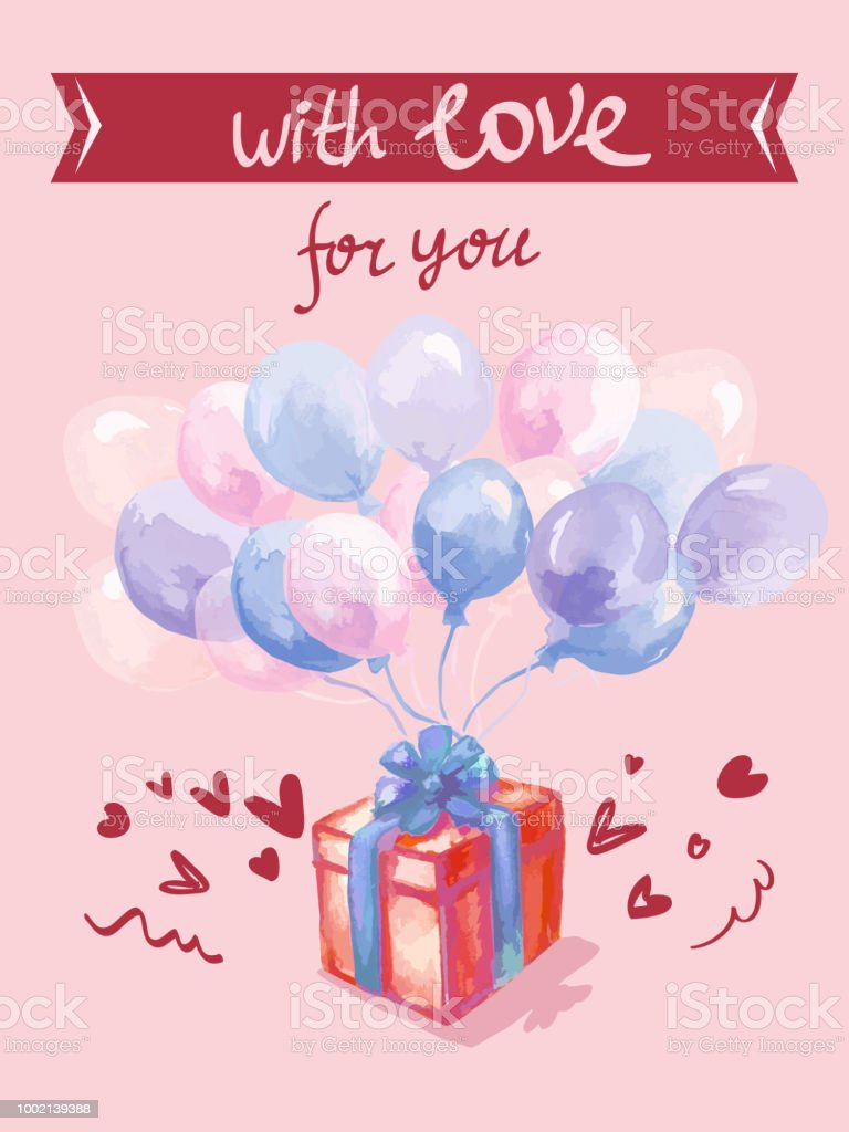 Typography Design For Greeting Cards And Poster With Balloon Hearts