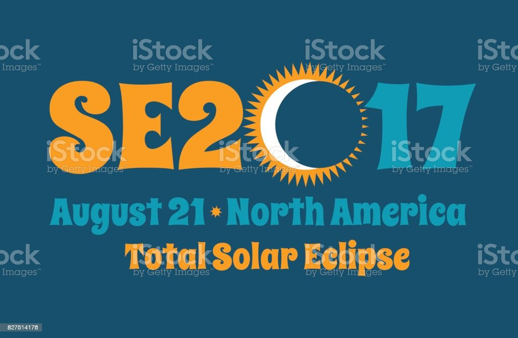 SE2017 typography design for solar eclipse on August 21 in North America, Web banner, card, poster or t-shirt design. vector art illustration