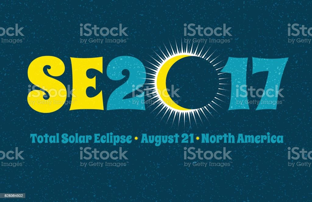 SE2017 typography design for solar eclipse on August 21 in North America, Web banner, card, poster or t-shirt design.