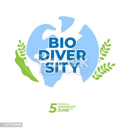 BIODIVERSITY typography design with green color for environment day event . june 5th