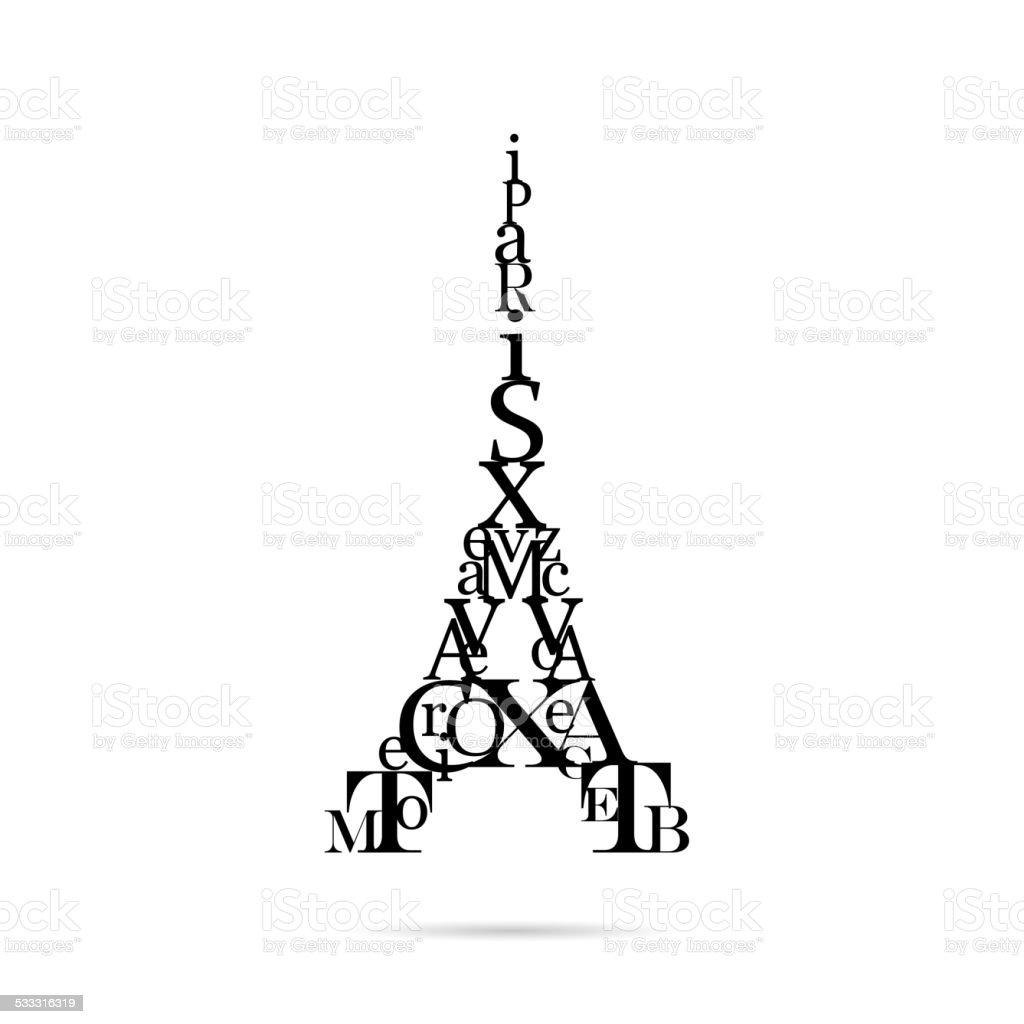 Typografie Eiffelturm, der Vektor-illustration – Vektorgrafik