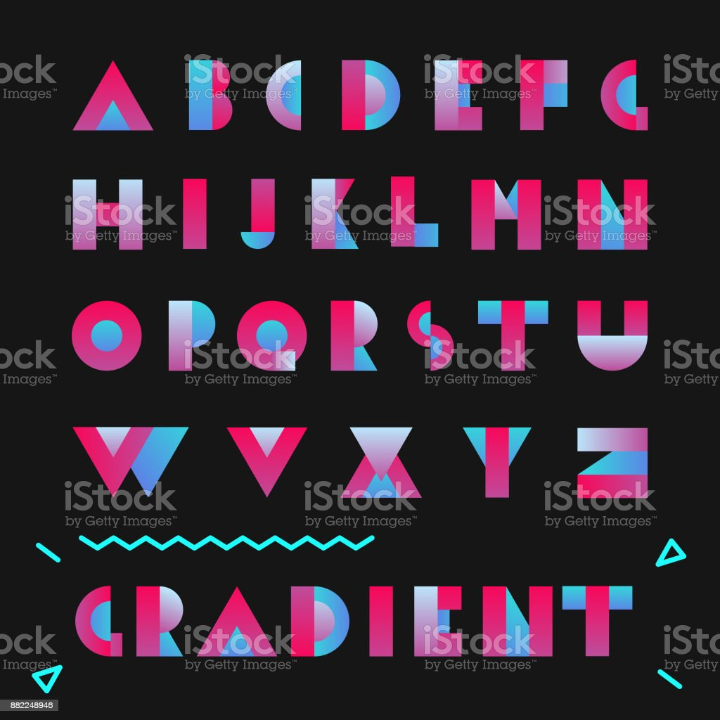 Typography Font With Gradient Vector Geometric Bright Flat Design