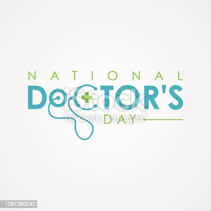 istock Typography for National Doctors Day with stethoscope 1297390242